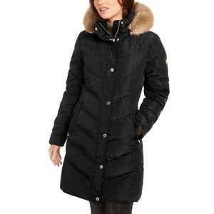 Michael Kors Faux Fur Trim Hooded Down Puffer Coat